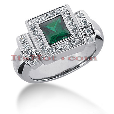 Designer Diamond and Emerald Ring in 14K Gold 0.42ctd 1.25cte Main Image