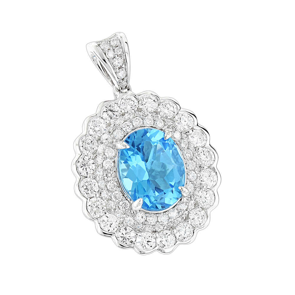 Designer Diamond Blue Topaz Pendant for Women by Luxurman 1.9ct 14K Gold White Image