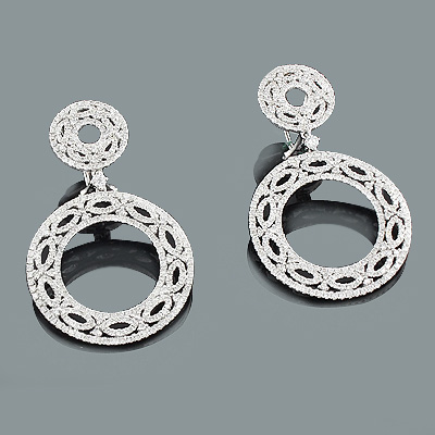 Designer Diamond Circle Earrings 3.69ct 18K Gold