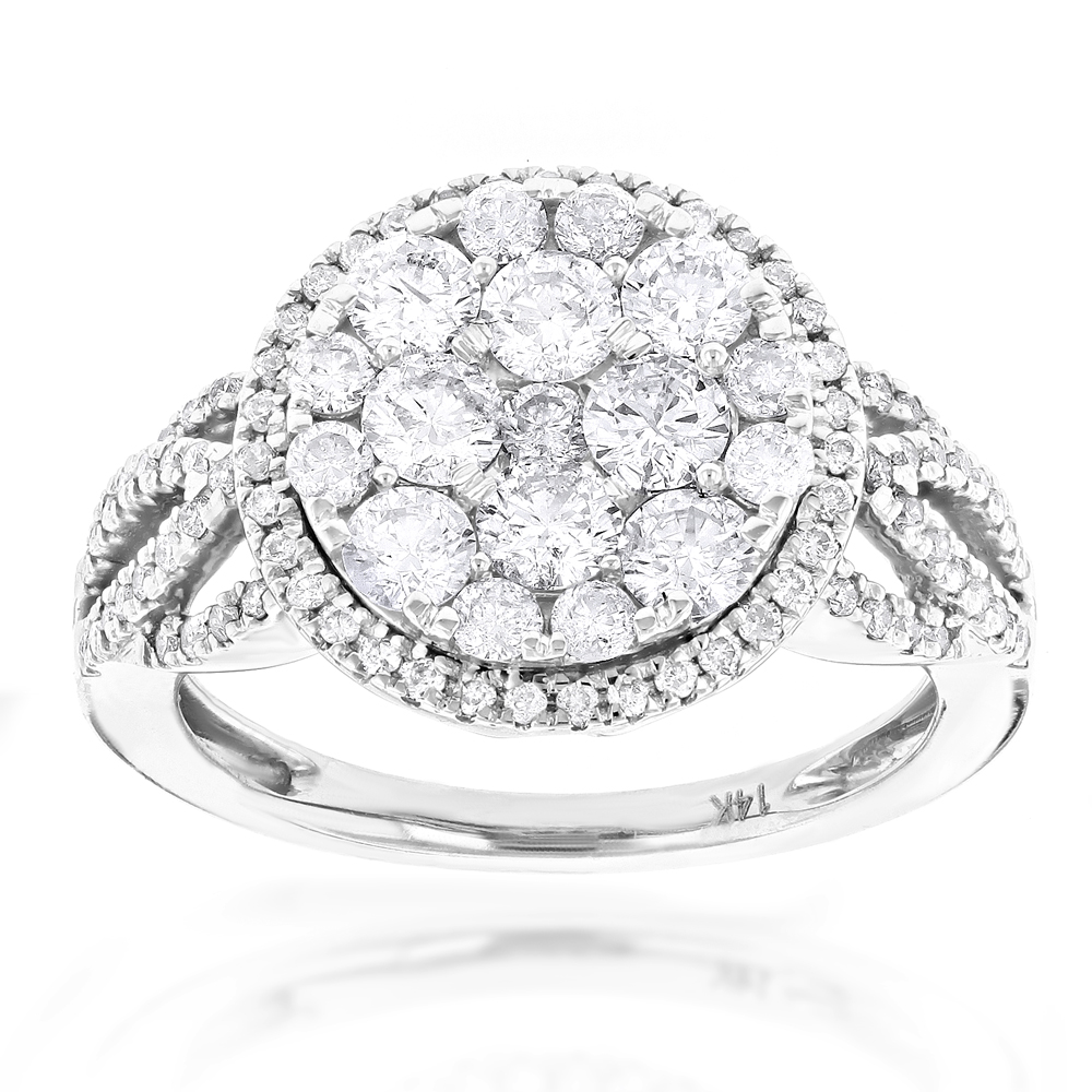 Designer Diamond Cluster Ring 1.89ct Unique Engagement Rings White Image