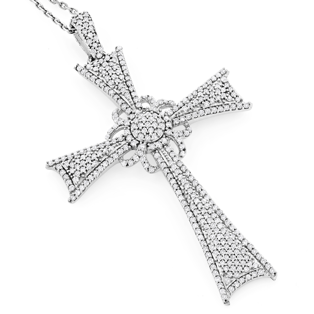 Designer Diamond Cross Pendant 14K Gold 1.31ct White Image