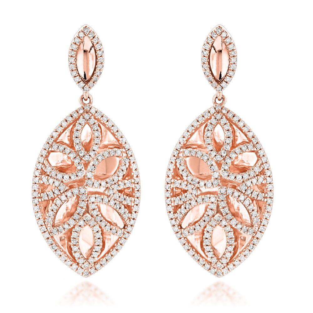 Designer Diamond Drop Earrings 1.36ct 14K Gold