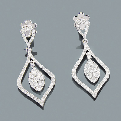 Designer Diamond Drop Earrings 2.36ct 18K Gold