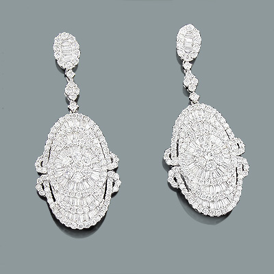 Designer Diamond Drop Earrings 6.69ct 18K Gold