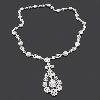 Designer Diamond Flower Necklace 14.88ct 18K Gold