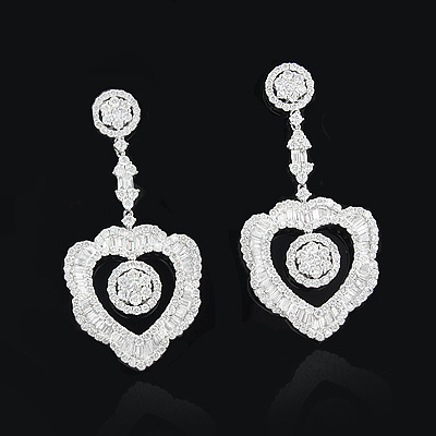 Designer Diamond Heart Drop Earrings 6.72ct 18K Gold