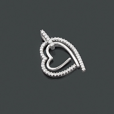 Designer Diamond Heart Pendant 0.34ct 10K Gold
