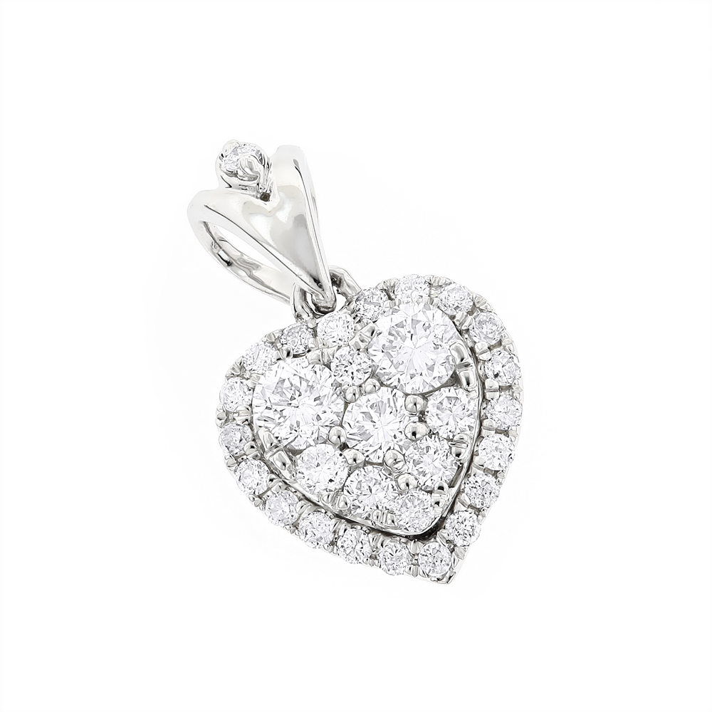 Designer Diamond Heart Pendant in 14k Gold 0.7ct G-H VS-SI Diamonds White Image