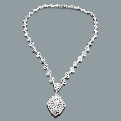 Designer Diamond Jewelry: Floral Necklace 11.22ct 18K Gold