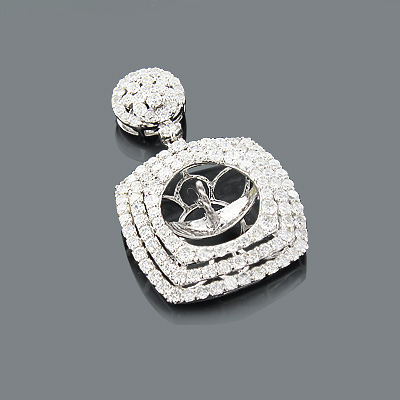 Designer Diamond Pendant Semi Mount 2.10ct 18K Gold