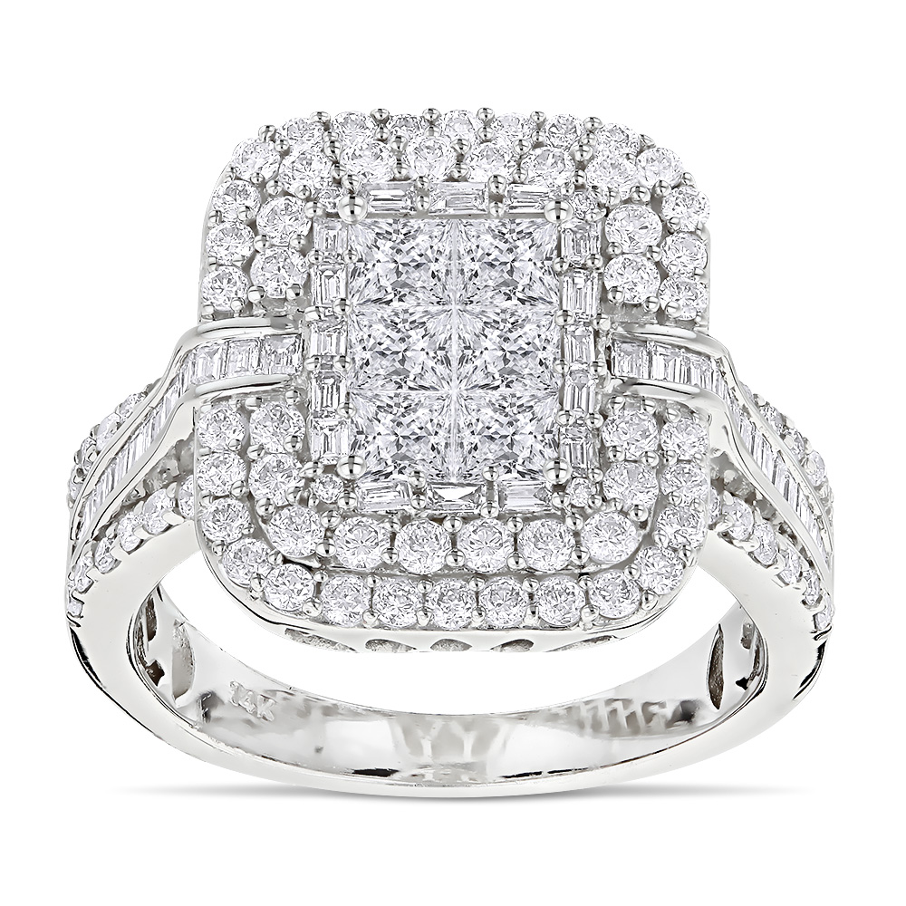 Designer Diamond Rings 14K Gold Diamond Ring 2.40ct White Image