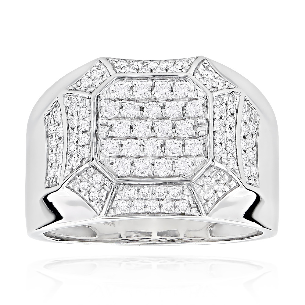 Designer Diamond Rings For Men by Luxurman 14k White Gold White Image