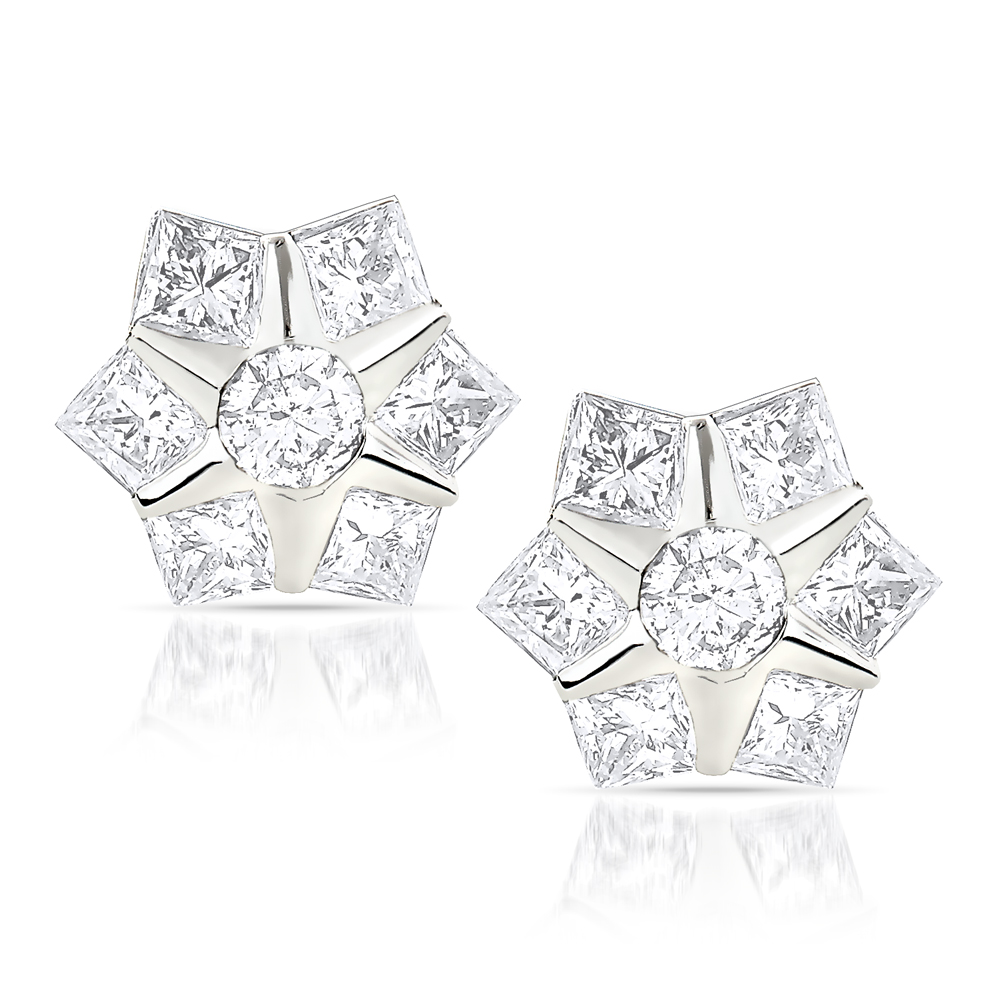 Designer Diamond Stud Earrings 0.78ct 10K Gold Stars White Image
