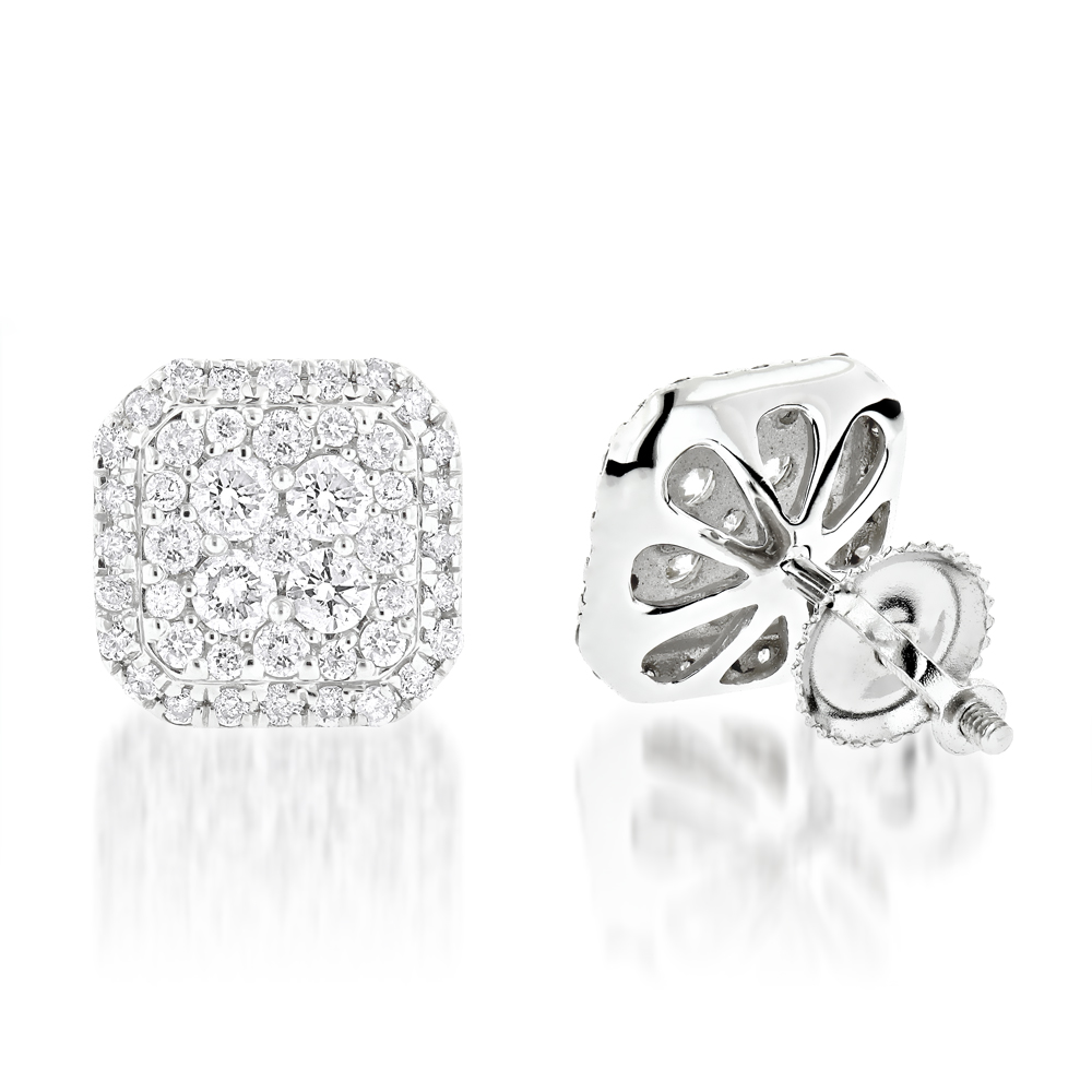 Designer Diamond Stud Earrings 1.21ct 14K Gold White Image