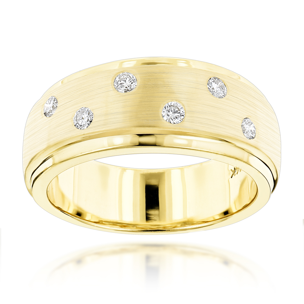 Designer Diamond Wedding Bands 14K Gold Mens Diamond Ring 0.35ct