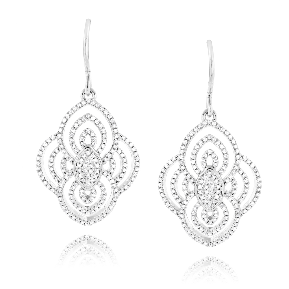 Designer Drop Diamond Earrings For Women 0.6ct 14K Gold White Image