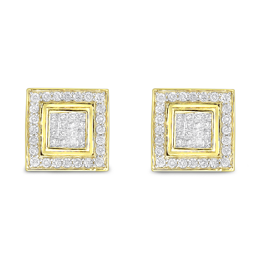 Designer Earrings 14K Gold Diamond Earrings Studs 1.24 Yellow Image