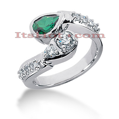 Designer Gemstone Jewelry: Diamond and Emerald Ring 14K 0.68ctd 0.75cte Main Image