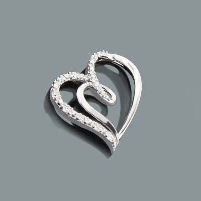 Designer Gold Diamond Heart Pendant 0.12ct 10K