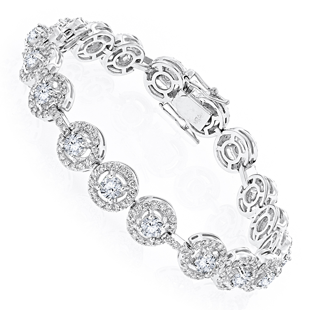 Designer Jewelry: 18K Gold Diamond Bracelet for Women 6ct by Luxurman White Image