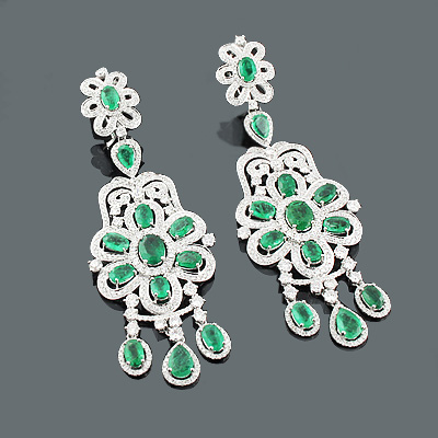 Designer Jewelry: Chandelier Emerald Earrings w Diamonds 6.44ct 10.58 Main Image