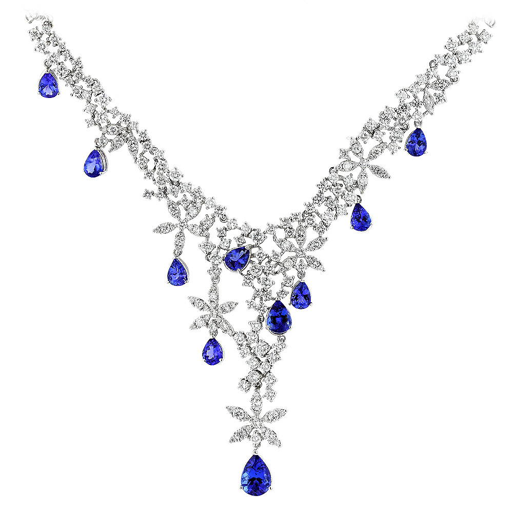 Designer Jewelry collection: Diamond Tanzanite Chandelier Necklace 18K Gold Main Image