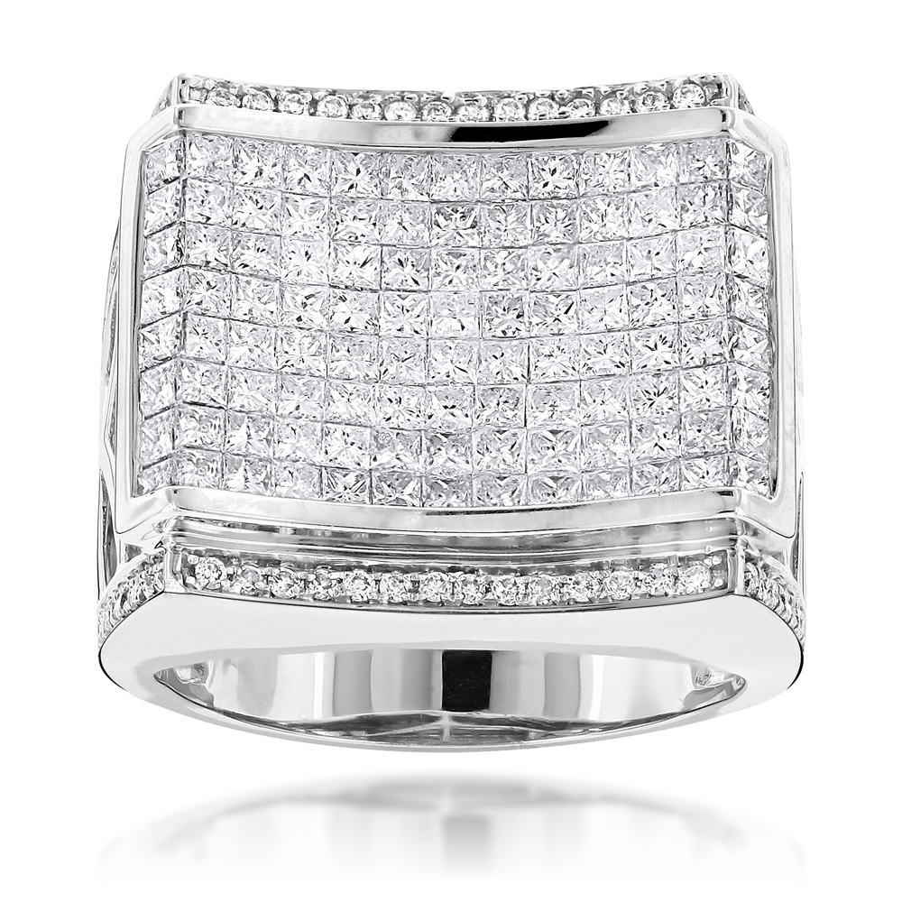 Designer Jewelry for Men: Round Princess Cut Diamond Ring 4.34ct 14K White Image