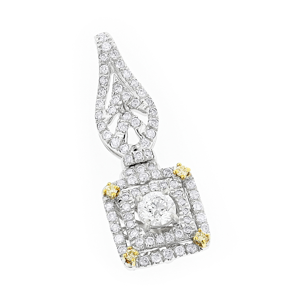 Designer Jewelry: Ladies White and Yellow Diamond Pendant 0.8ct 14K Gold White Image