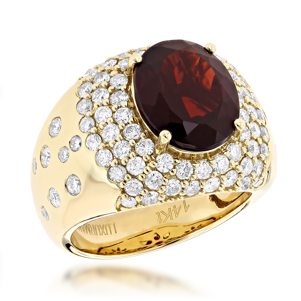 Designer Jewelry Luxurman Fashion Ladies Garnet Diamond Ring 14K Gold 2.3ct Yellow Image