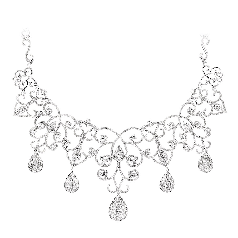 Designer Ladies Diamond Necklaces: Chandelier Necklace by Luccello 18K Gold