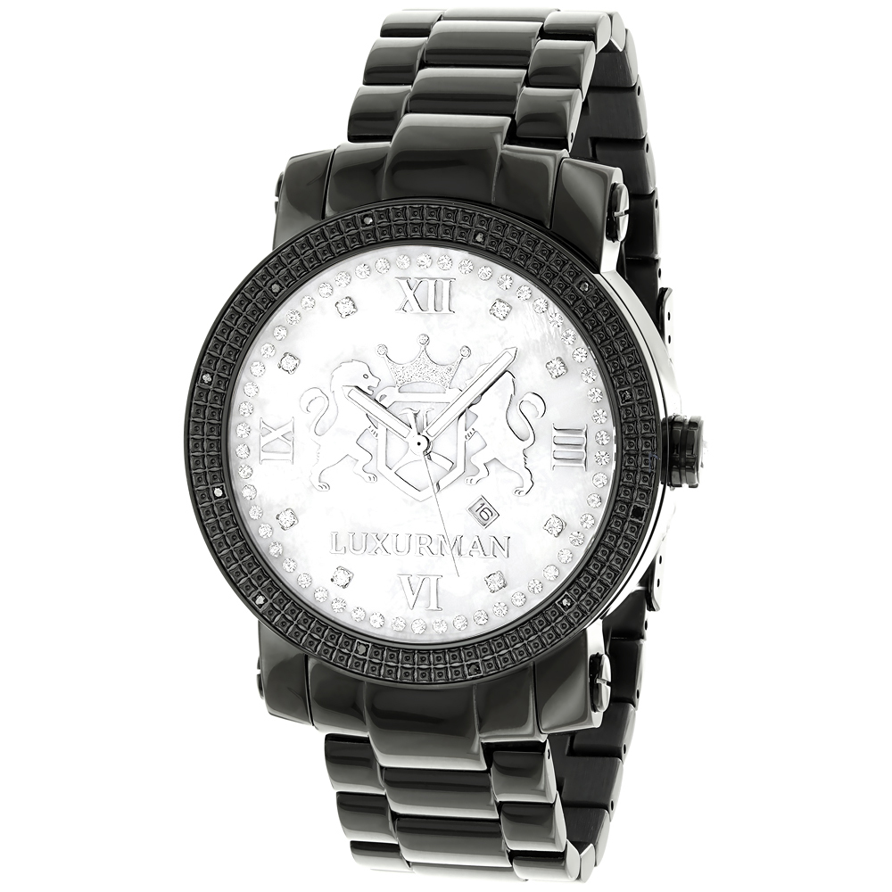 Designer Large Watches: Luxurman Phantom Black Diamond Watch for Men 0.12ct Main Image