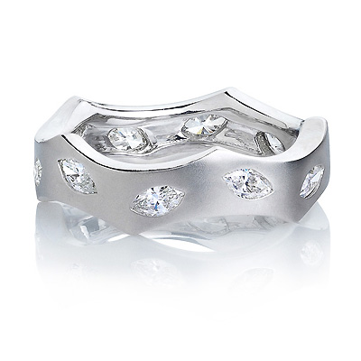 Designer Marquise Diamond Eternity Ring LUCCELLO 0.71ct 18K Gold Main Image