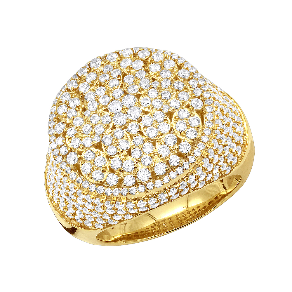 Designer One of a Kind Mens Diamond Ring in 10K Gold Pinky Rings 4 Carat Yellow Image