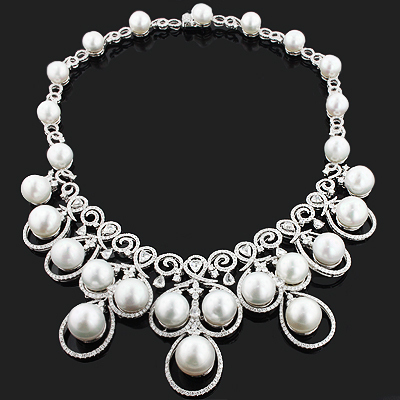 Designer Pearl Necklace with Diamonds 17.96ct 18K Gold Luccello Jewelry Main Image