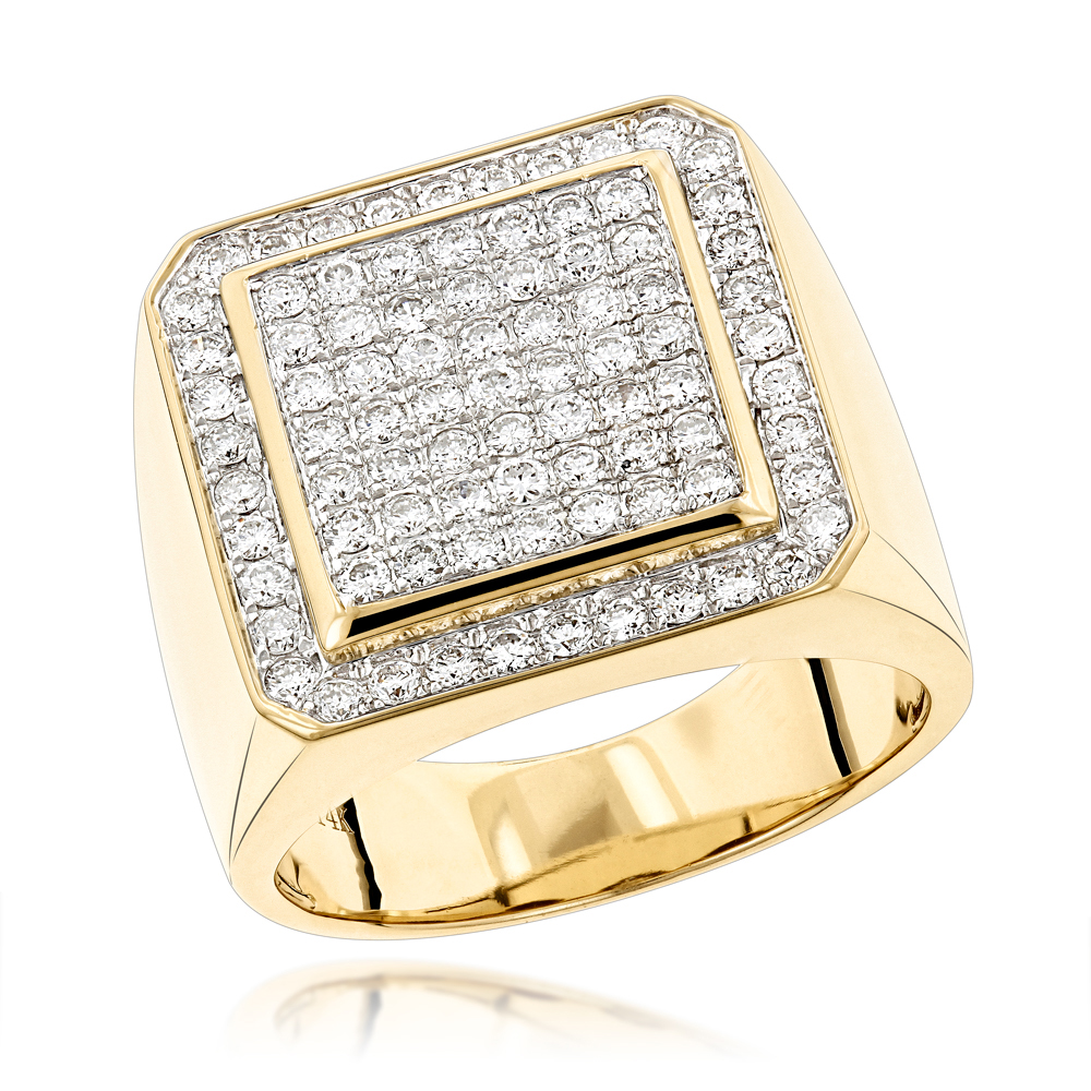 Designer Pinky Rings Mens Diamond Gold Ring by Luxurman 1 63ct 14K Gold