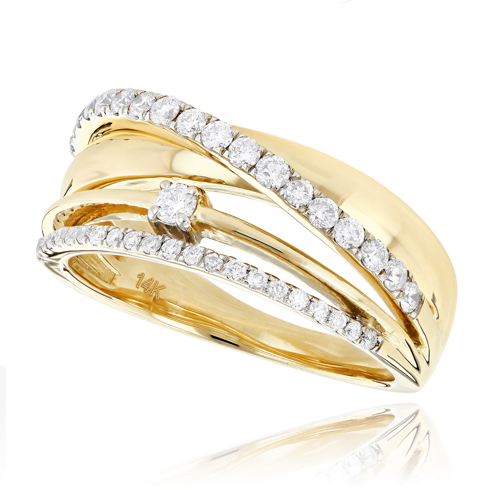 Designer Right Hand Diamond Ring for Women 0.55ct 14K Gold Yellow Image