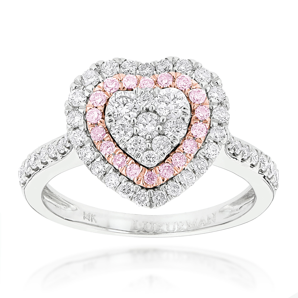 Designer Rings Unique White Pink Diamonds Heart Ring for Women 14k Gold 1ct White Image