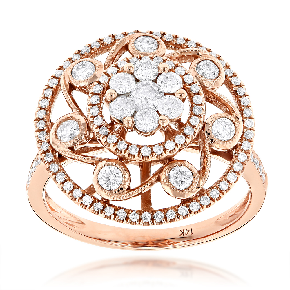 Designer Round Diamond Ladies Ring 14K Gold 1.27ct