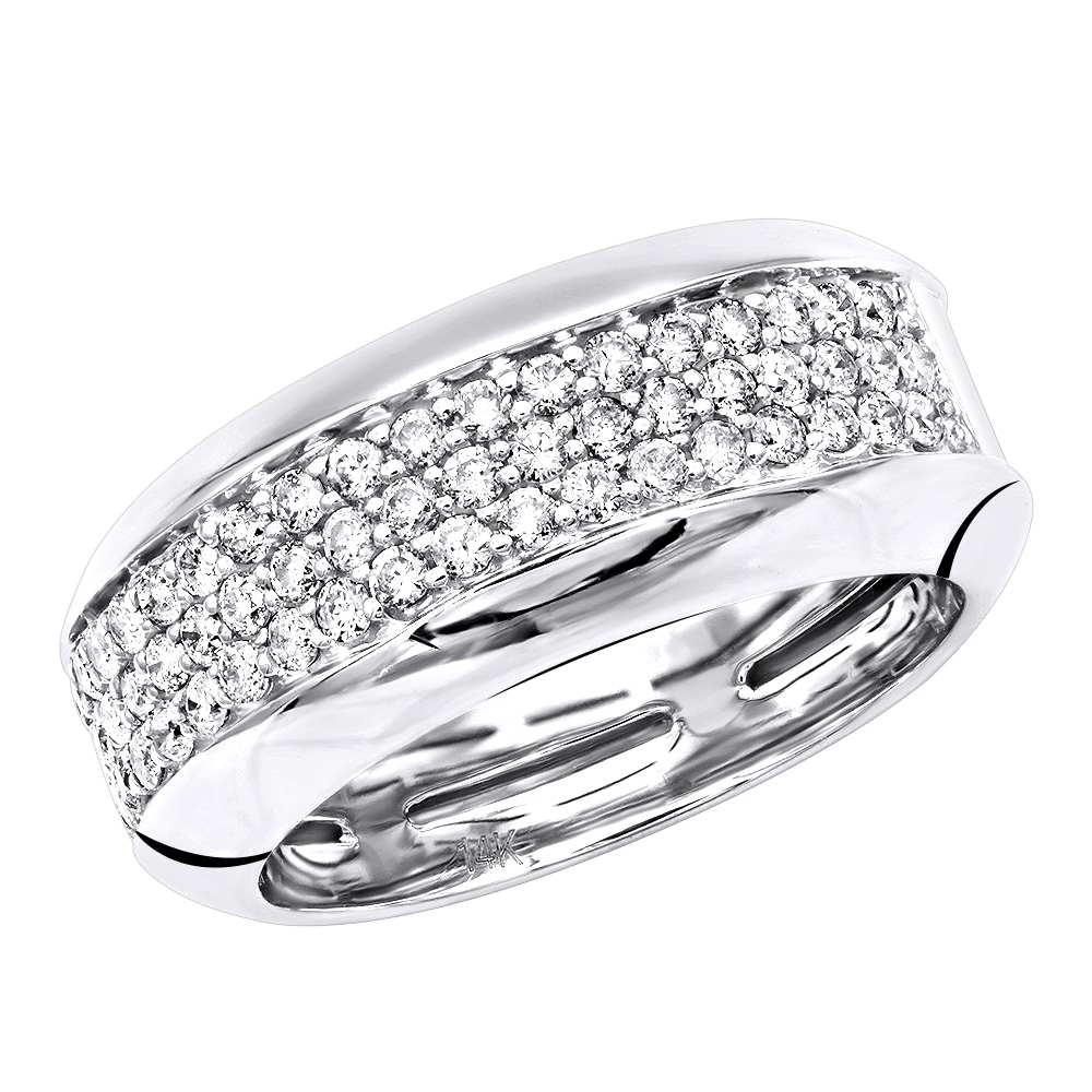 Wide 14k Gold Diamond Wedding Band For Women Anniversary Ring 0.8ct