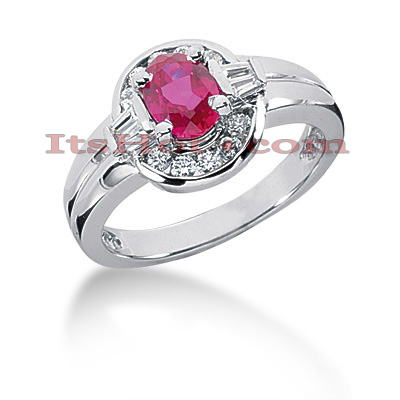 Designer Ruby and Diamond Engagement Ring 14K 0.51ctd 0.75ctr Main Image