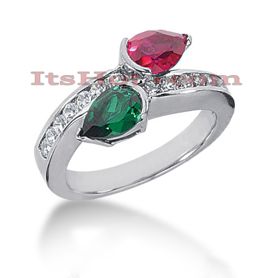 Designer Ruby and Emerald Diamond Ring 14K 0.42ctd Main Image