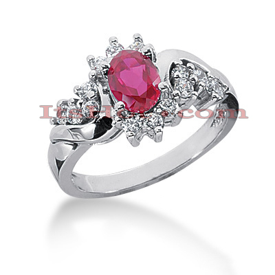 Designer Ruby Engagement Ring with Diamonds 14K 0.42ctd 0.75ctr Main Image