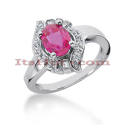 Designer Ruby Engagement Ring with Diamonds 14K 0.42ctd 1.25ctr Main Image