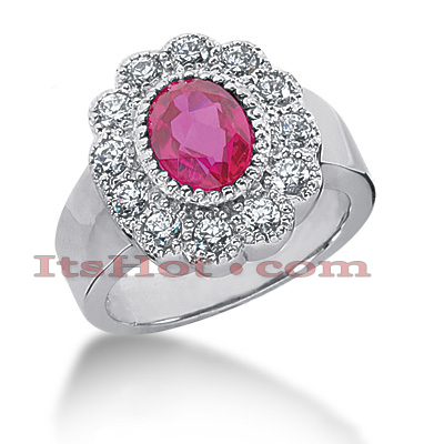 Designer Ruby Engagement Rings: Diamond Flower Ring 14K 0.60ctd 1.25ctr Main Image