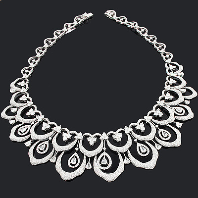 Designer Scalloped Necklace with Diamonds 27.79ct 18K Gold