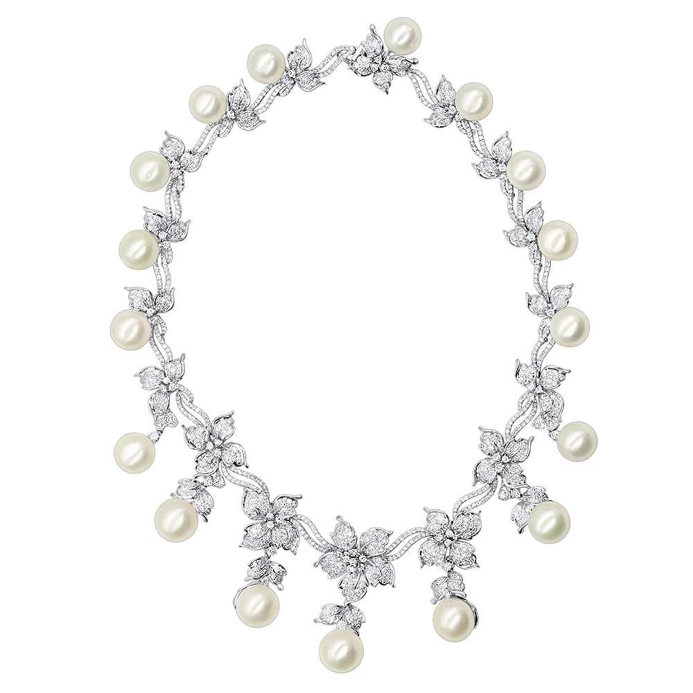 Designer South Sea Pearl and Diamond Necklace Flower Design 18k gold White Image