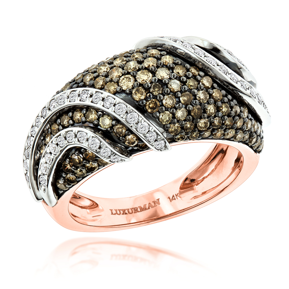 Designer White Brown Diamond Fashion Ring for Women by Luxurman 2ct Rose Image