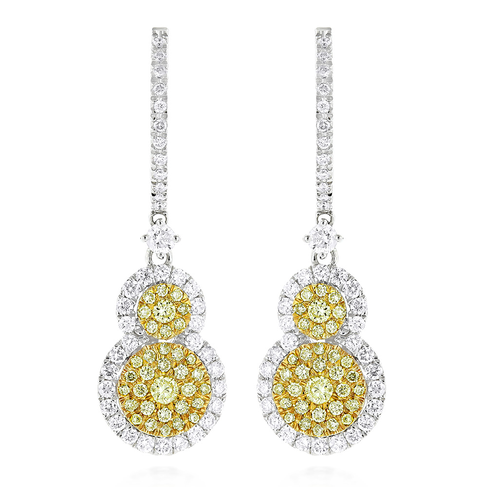 Designer White Yellow Diamond Drop Earrings for Women Circle Design 14K 2ct Main Image
