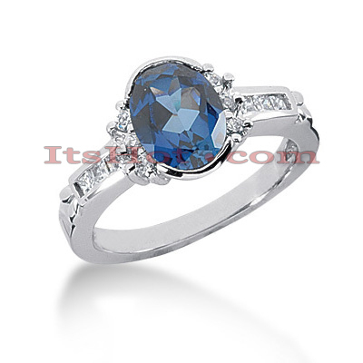 Diamond and Blue Sapphire Engagement Ring 14K 0.33ctd 1.25cts Main Image