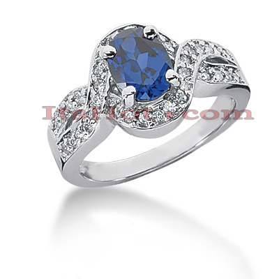 Diamond and Blue Sapphire Engagement Ring 14K 0.36ctd 1.25cts Main Image